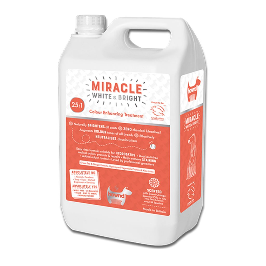 Hownd 享樂 - MIRACLE White & Bright Colour Enhancing Conditioning Shampoo 奇蹟毛色閃亮 1: 25 濃縮(二合一)潔毛液 5L