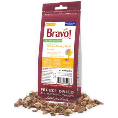 Bravo - Freeze Dried Healthy Medley Chicken with Liver 脫水走地雞雜錦 貓小食 1.25oz