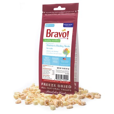 Bravo - Freeze Dried Healthy Medley Mariner's Medley 脫水海鮮雜錦 貓小食0.75oz
