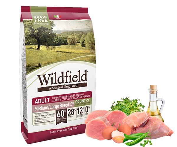 Wildfield 祖泉 低敏無穀物 中至大型成犬 原野 (Country) 配方 - 豬、兔、雞蛋 (M/L) 12kg