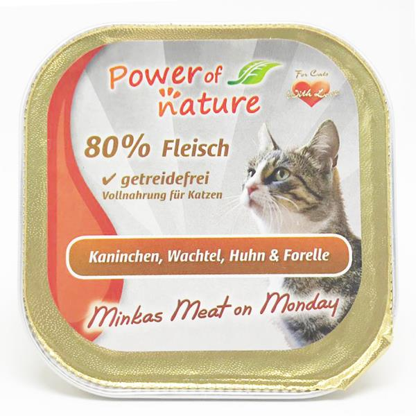 Power of Nature 星期一慕絲 Minkas Meat on Monday (Kaninchen, Wachtel, Huhn & Forelle) 兔肉鵪鶉雞肉鱒魚 100g (限定增量裝) (啡色)