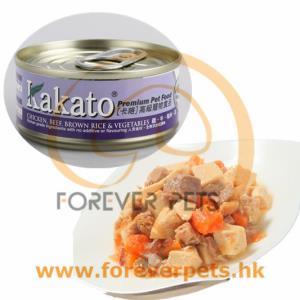 Kakato 卡格 Chicken, Beef, Brown Rice & Vegetables 雞、牛、糙米、菜罐頭 (貓狗合用) 70g