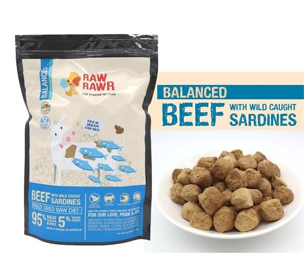 Raw Rawr 牛肉 + 沙甸魚凍乾生肉狗糧 400G